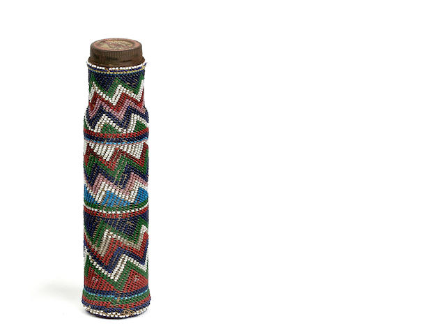 Bead-Covered Glass Bottle, South Africa