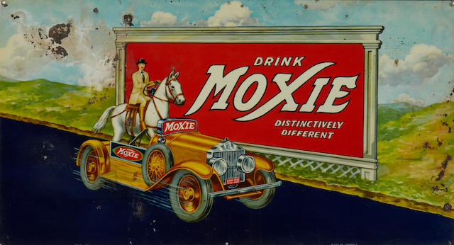 A rare Moxie soda sign, 1933,