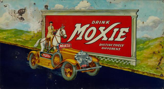 A rare Moxie cola sign, 1933,