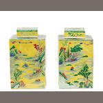 A pair of Chinese famille jaune porcelain tea caddies
