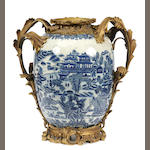 A large pair of Chinese gilt bronze mounted blue and white porcelain vases