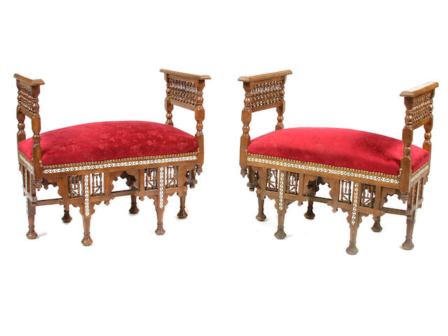 A pair of Moorish style shell and bone inlaid benches
