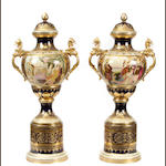 A large pair of Vienna style paint decorated porcelain urns