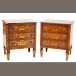 A pair of Italian Neoclassical style paint decorated commodini