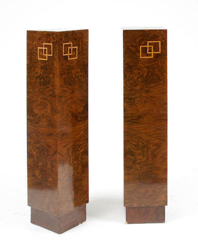 A pair of Art Deco style inlaid pedestals