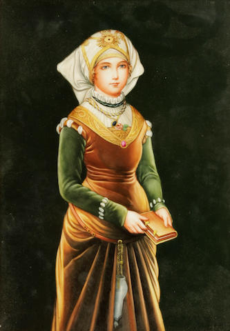 A Berlin style porcelain plaque of a Renaissance maiden