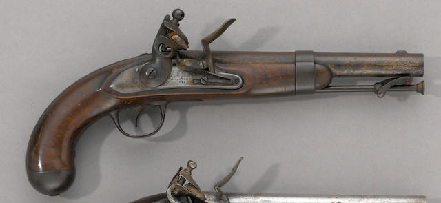 A U.S. Model 1836 flintlock martial pistol by Johnson