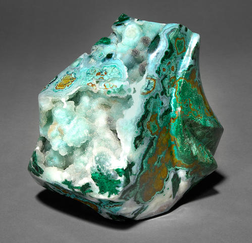 Druzy Chrysocolla - Malachite - Limonite Sculpture by Perry Brent Davis