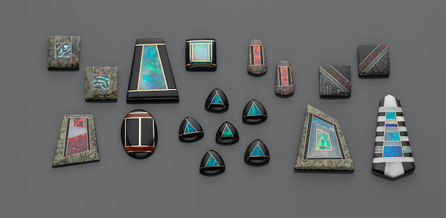 Group of Opal and Synthetic Opal and 18K Gold Intarsias
