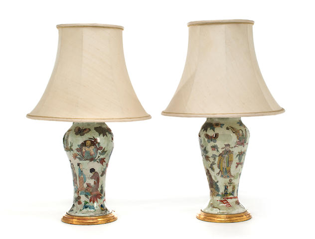 A pair of Italian decalcomania vases late 19th century