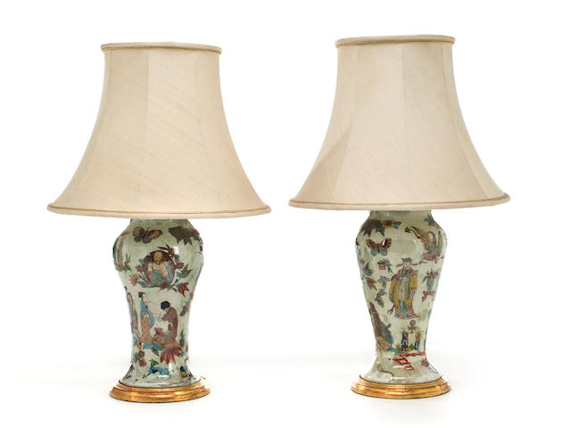 A pair of Italian decalcomania vases<BR />late 19th century