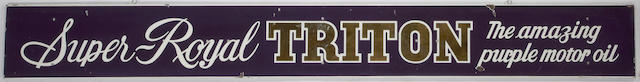 A Super Royal Triton Purple motor oil sign, c.60s,