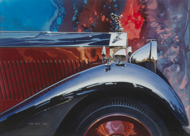 Tom Hale Rolls-Royce Detail Watercolor Painting, 1985,