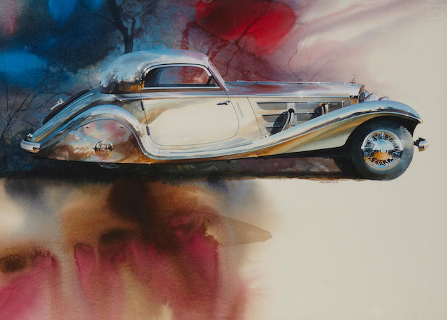 Tom Hale Mercedes SSK Detail Watercolor Painting, 1985,