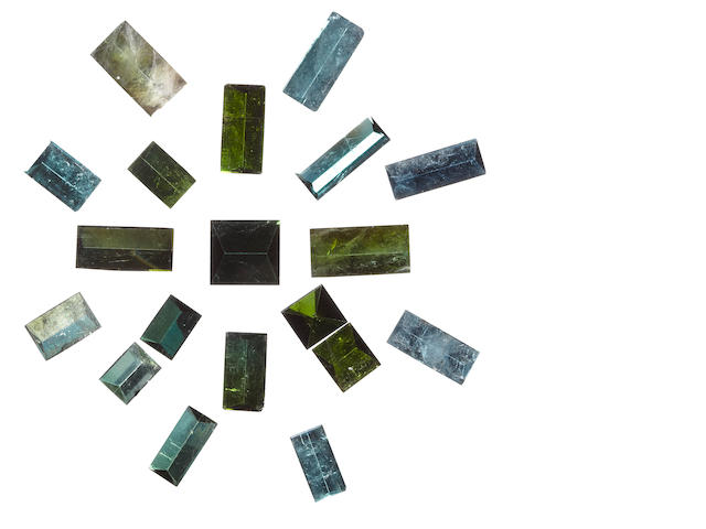 Very Large Group of Mirror-Cut Tourmalines