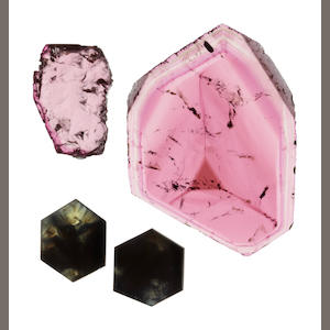 Two Pink Tourmaline Slices and a Pair of Sapphire Plaques