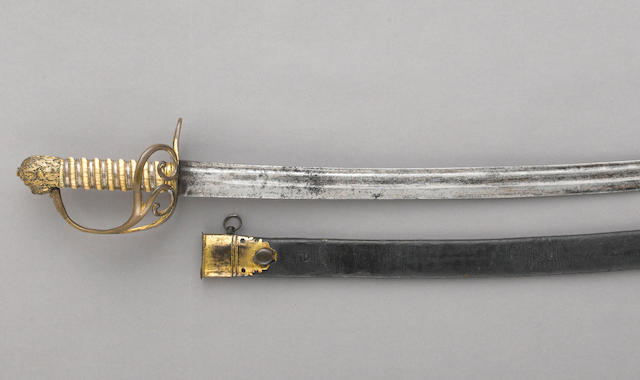 A scarce Irish flank officer's lion pommel short saber