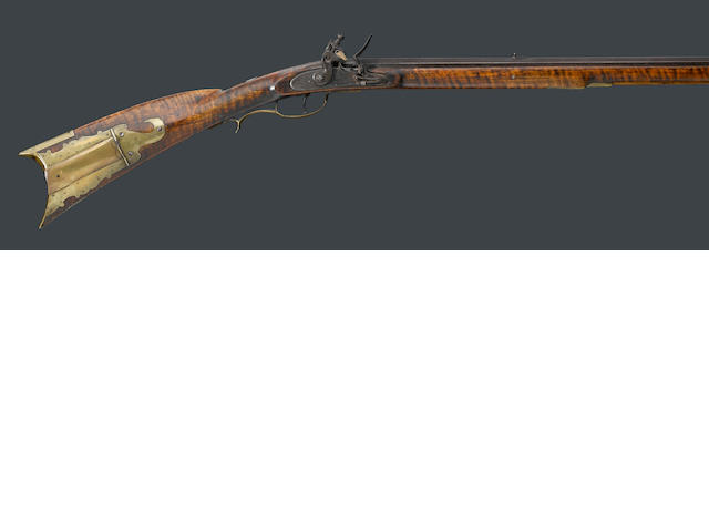 An American full-stocked flintlock rifle