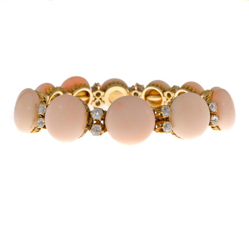 A coral and diamond bracelet