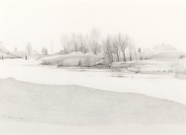 Wayne Thiebaud (born 1920) Landscape, 1965 9 1/2 x 12 3/4in (24.1 x 32.4cm)