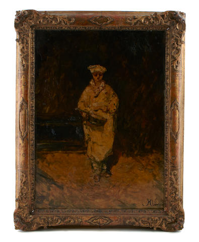 Adolphe Joseph Thomas Monticelli (French, 1824-1886), Le Patissier, signed, oil on panel, 18 x 13 1/4 inches, framed