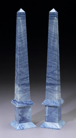 Rare Dumortierite Pair of Obelisks