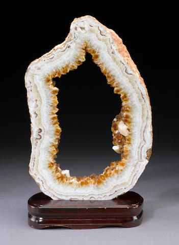 Citrine Geode Cross Section