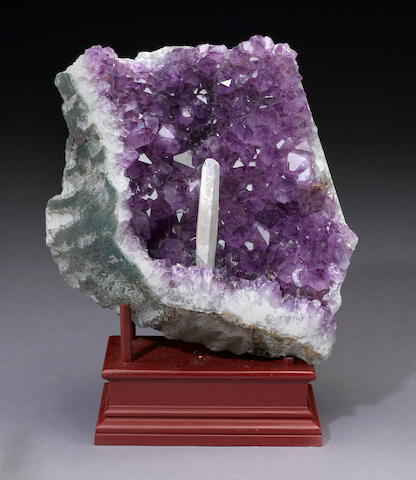 Amethyst with Calcite on Stand