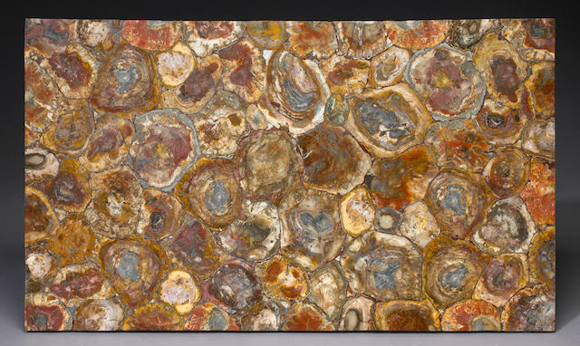 Red Petrified Wood Intarsia Tabletop