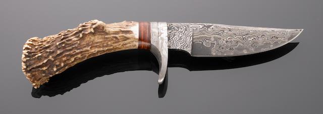 Meteorite and Damascened Steel Knife