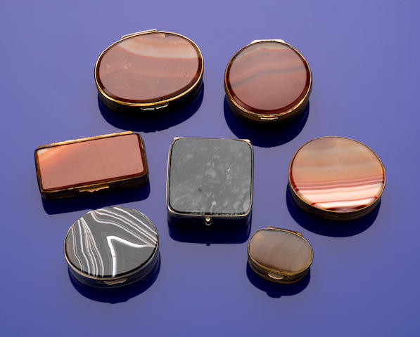Group of Seven Agate & Silver-gilt Mounted Boxes