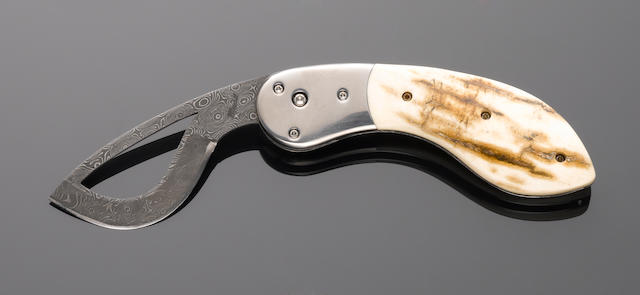 Mastodon Ivory and Damascened Knife