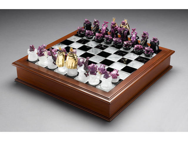 "Ruby, Obsidian and Rock Crystal Quartz Chess Set-""The Frog Prince"""