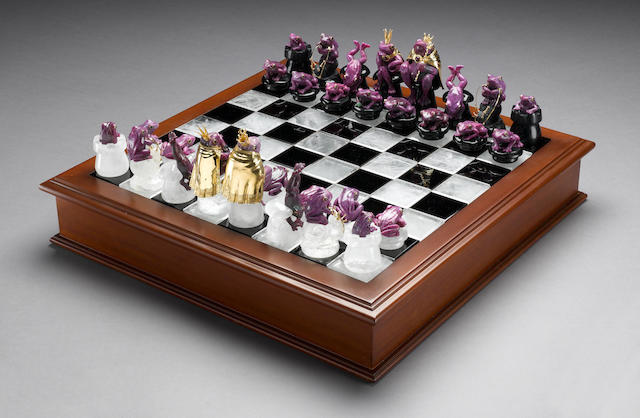 """Ruby, Obsidian and Rock Crystal Quartz Chess Set-""""The Frog Prince"""""""