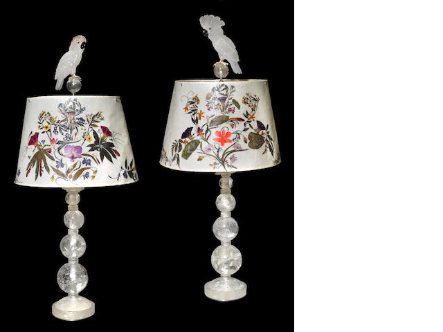 Unique Pair of Rock Crystal, Gemstone and Lamps with Pressed Wildflower Shades