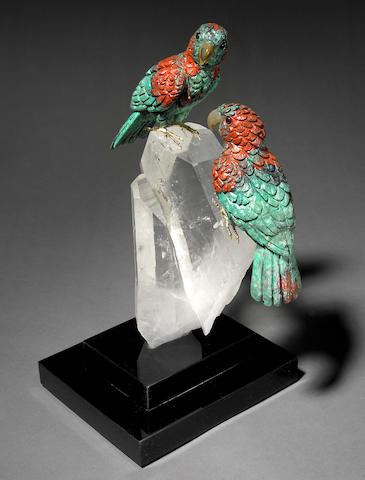 Sunshine Chrysocolla Carving of a Parrots