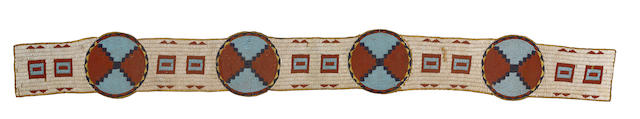A Plains beaded blanket strip, possibly Arapaho, 56 x 6in