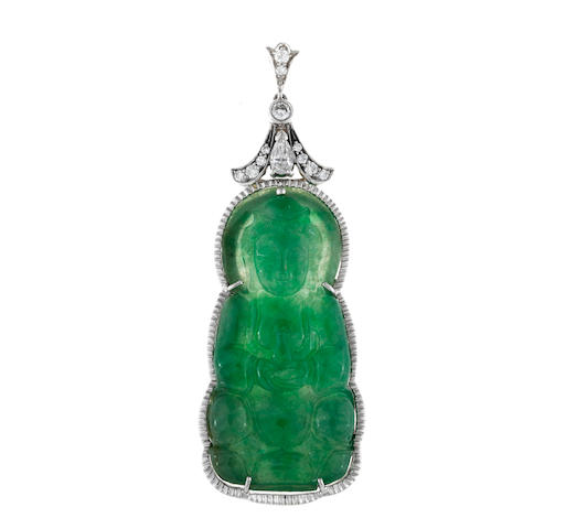 A jadeite jade and diamond Guanyin pendant