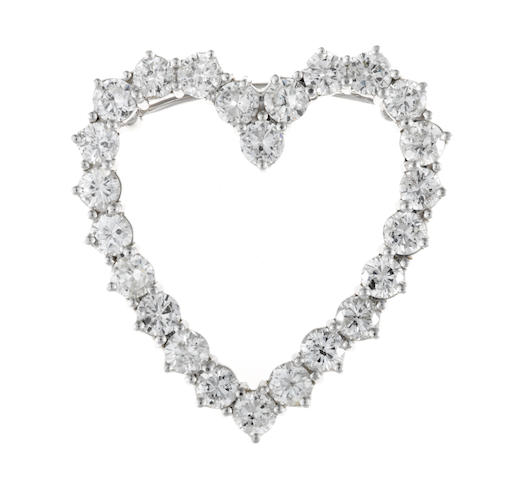 A diamond open heart pendant/brooch