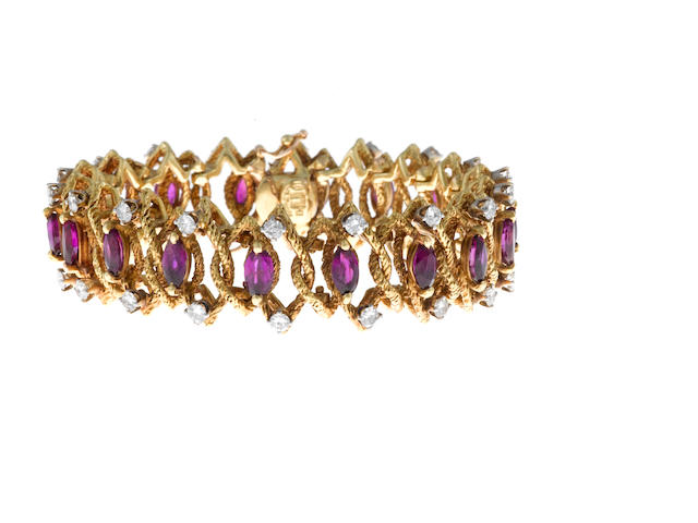 A ruby and diamond bracelet, La Triomphe