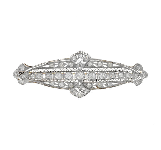 An art deco diamond filigree brooch,