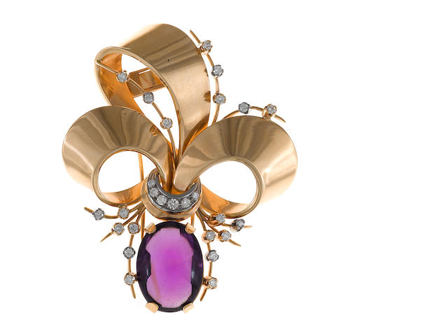 An amethyst, diamond and eighteen karat gold bow motif brooch
