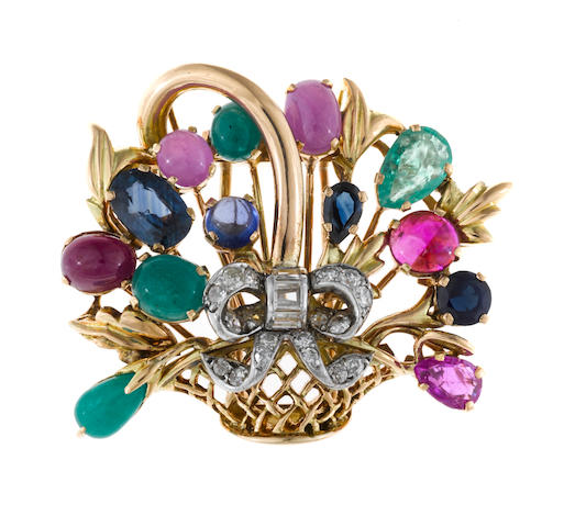 A gem-set and diamond bouquet brooch