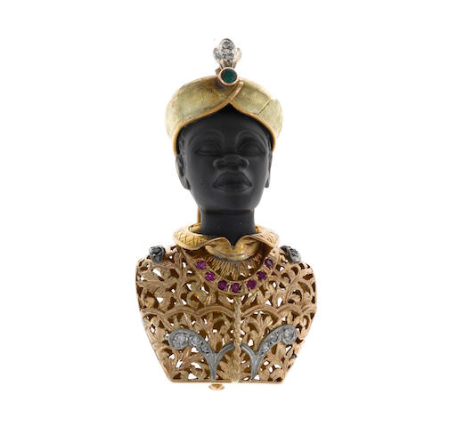A ruby, sapphire, diamond and emerald blackamoor brooch