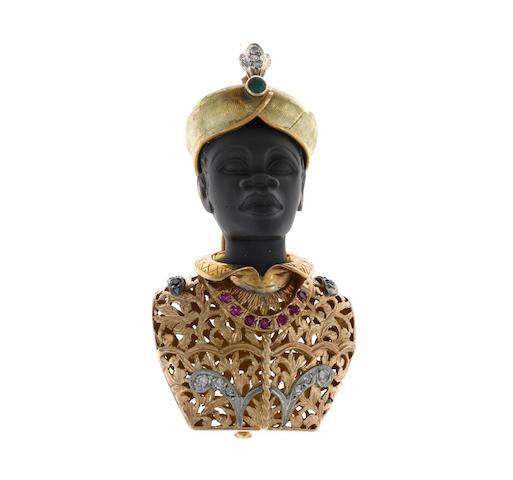 A ruby, sapphire, diamond and emerald blackamoor brooch