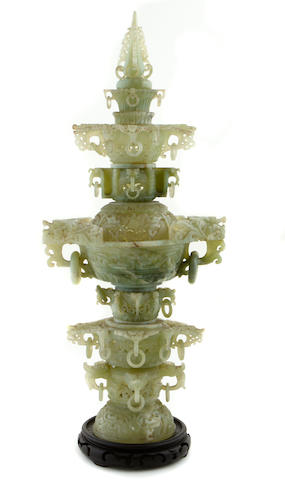 A large Chinese hardstone censer