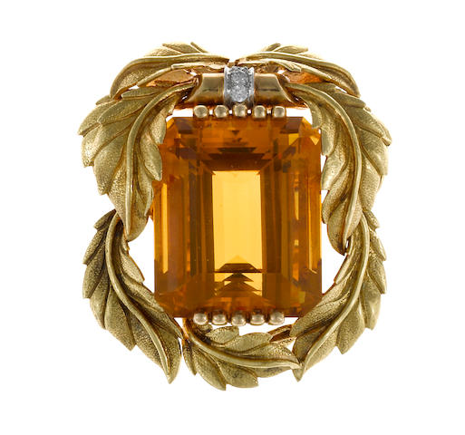 A citrine and diamond foliate motif brooch, Tiffany & Co.