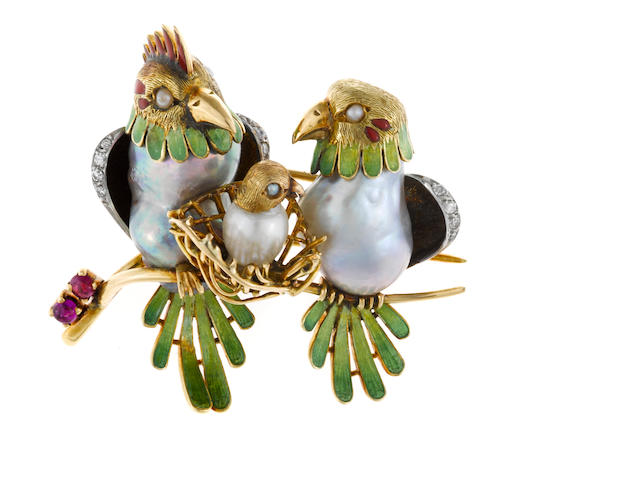 An enamel, colored baroque cultured pearl, seed pearl, ruby and diamond bird motif brooch