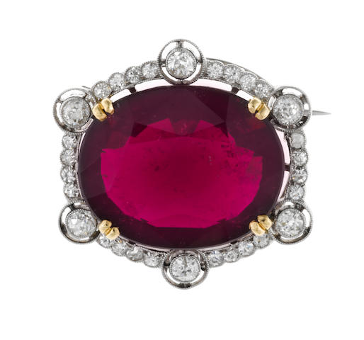 A rubellite tourmaline and diamond brooch