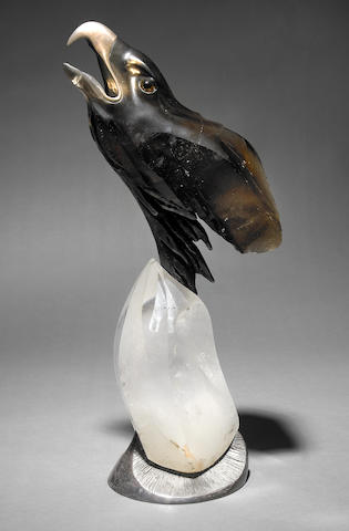 Smoky Quartz and Silver Carving of an Eagle
